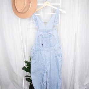 Vintage SQZ squeeze pin striped denim overalls